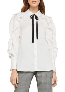 BCBG Max Azria Tie-Neck Button-Down Cotton Ruffle Blouse