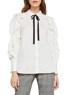BCBG Max Azria Tie-Neck Button-Down Cotton Ruffle Blouse