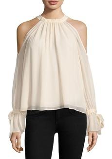 BCBG Max Azria Tie Sleeve Silk Cold-Shoulder Top