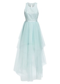 BCBG Max Azria Tiered Crepe & GeorgetteGown