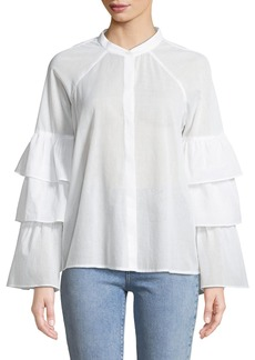 BCBG Max Azria Tiered-Ruffle Sleeve Button Front Shirt