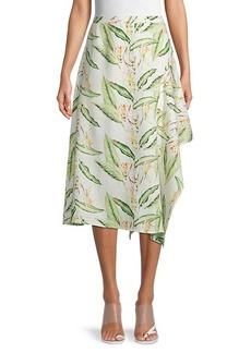 BCBG Max Azria Tropical-Print Asymmetrical Midi Skirt