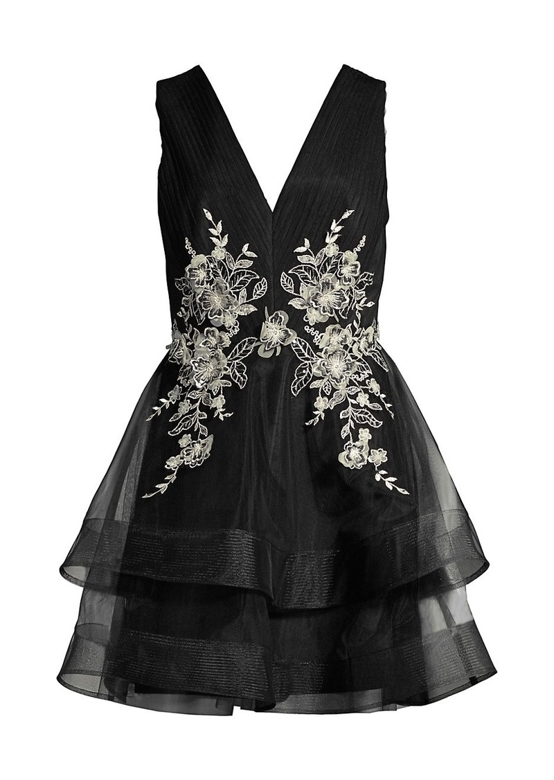 BCBG Max Azria Tulle Embroidered Tiered Dress