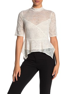 BCBG Max Azria Turtleneck Peplum Lace Trim Blouse