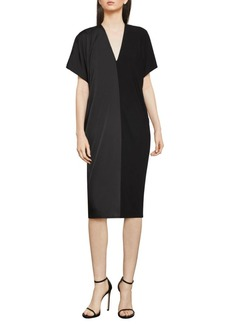 BCBG Max Azria Two-Tone Draped Shift Dress