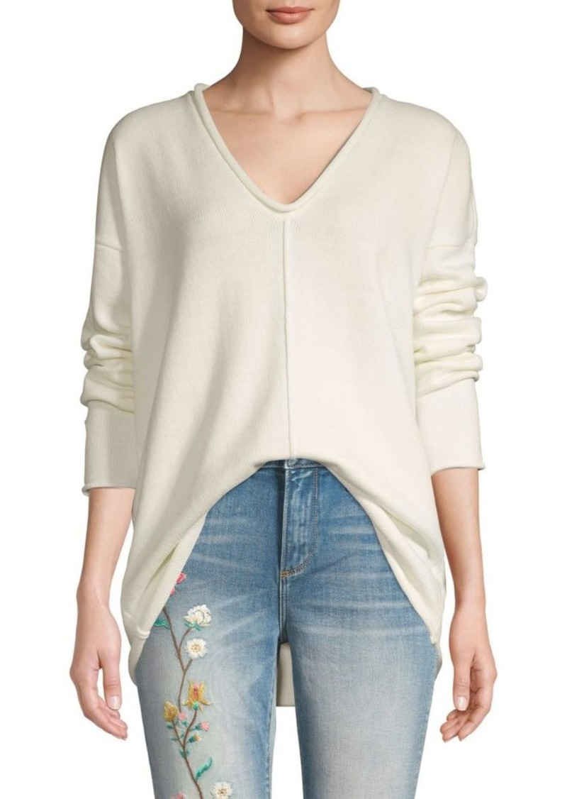 BCBG Max Azria V-Neck Cotton-Blend Sweater