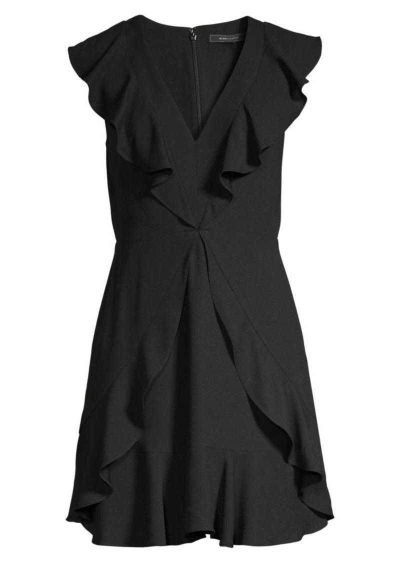 BCBG Max Azria V-Neck Crepe Flounce Cocktail Dress
