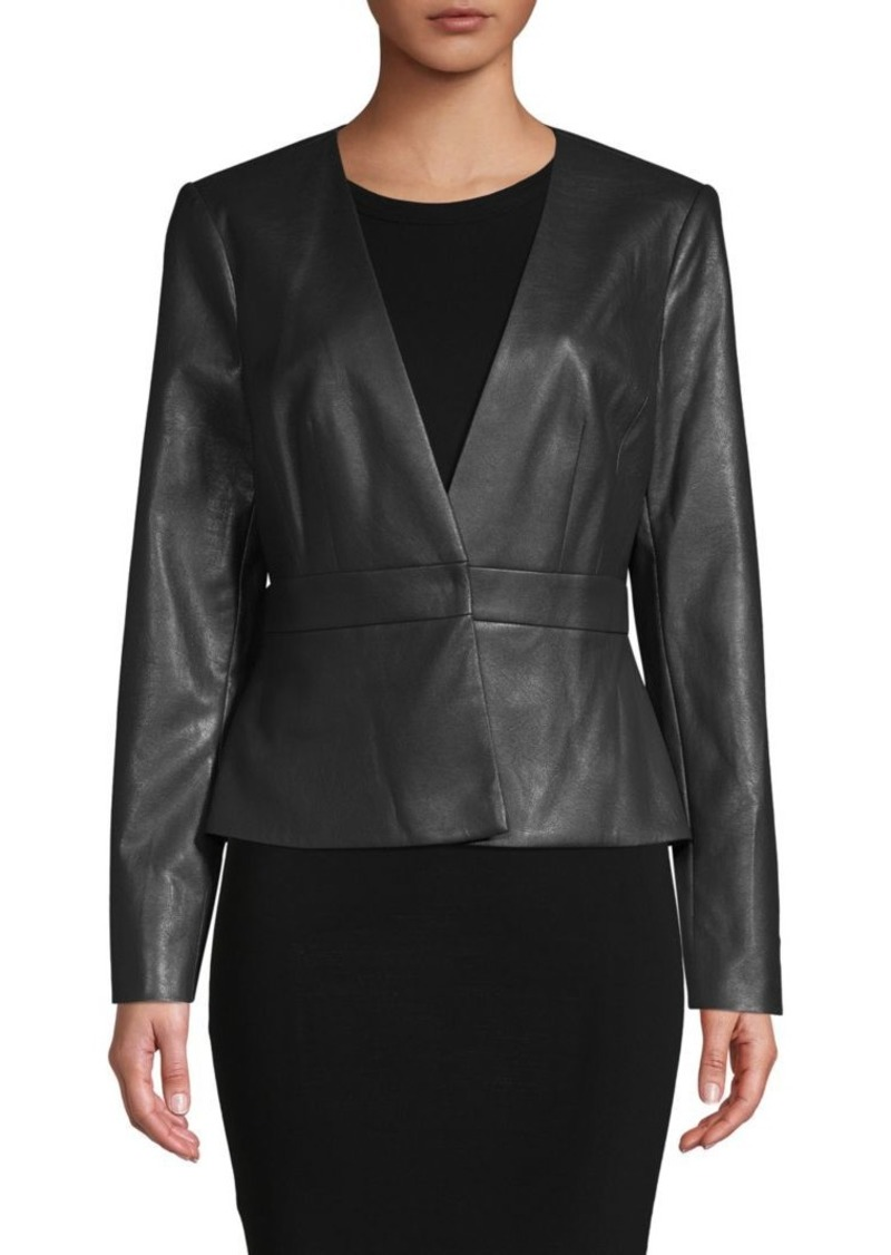 BCBG Max Azria V-Neck Faux Leather Jacket