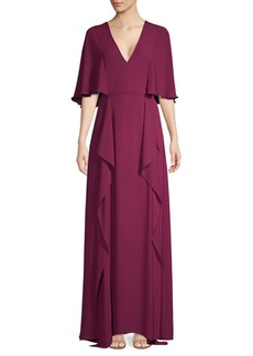 BCBG Max Azria V-Neck Flounce Maxi Dress