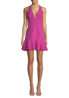 BCBG Max Azria V-Neck Flounce Mini Dress