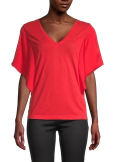 BCBG Max Azria V-Neck Linen-Blend Top