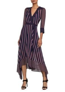 BCBG Max Azria Valet Stripe Asymmetric Wrap Dress