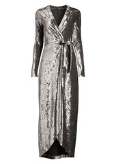 BCBG Max Azria Velvet Ruched Midi Wrap Dress
