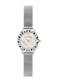 BCBG Max Azria Women's Mother-Of-Pearl Light Stainless Steel Mesh Watch, 24mm