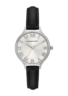 BCBG Max Azria Women's Silver Crystallized Dial Leather Watch, 33mm