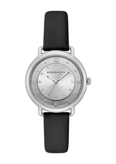 BCBG Max Azria Women's Silver Crystallized Dial Leather Watch, 34mm