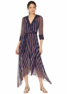 BCBG Max Azria Woven Stripe Wrap Dress