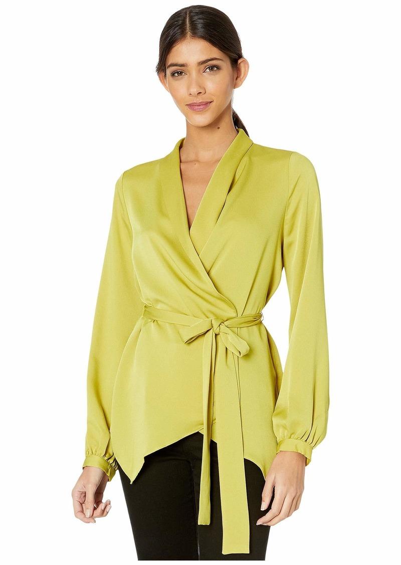 BCBG Max Azria Wrap Long Sleeve Top