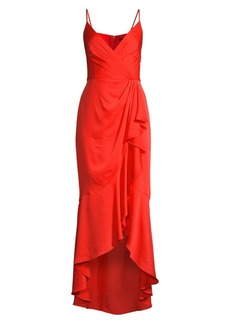 BCBG Max Azria Wrap Ruffle Midi Dress