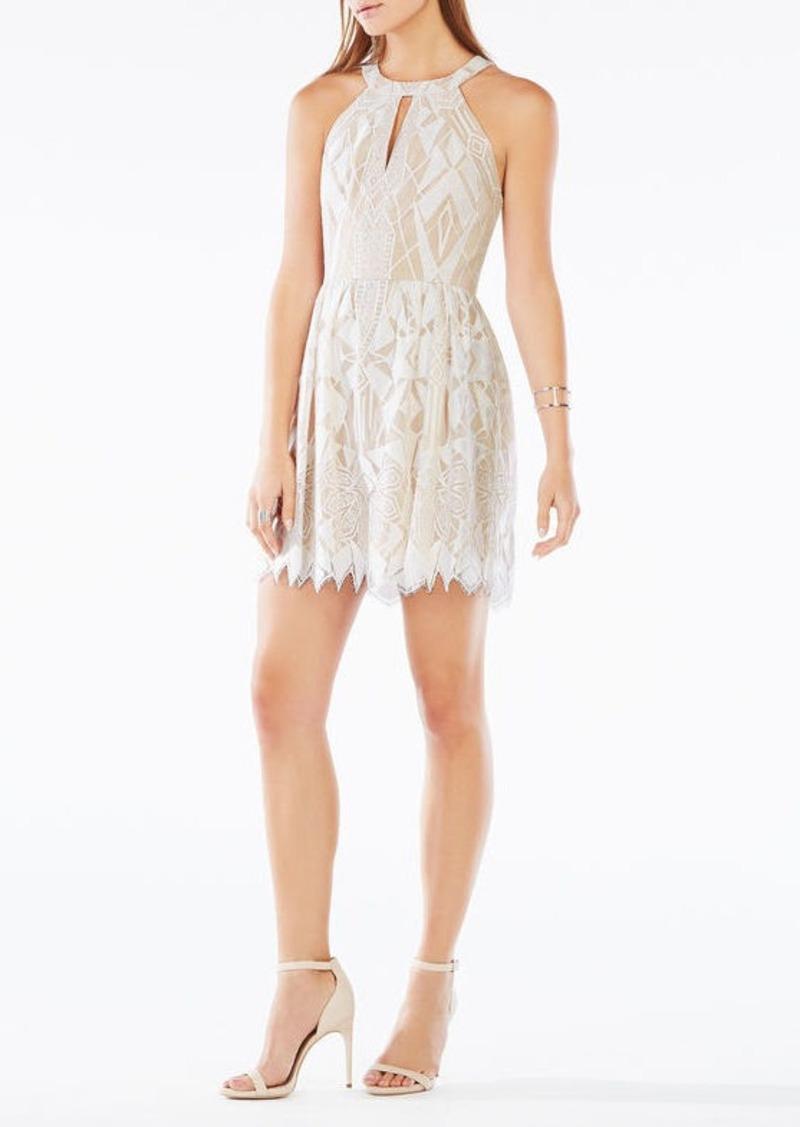 BCBG Megyn Halter-Neck Deco Lace Dress