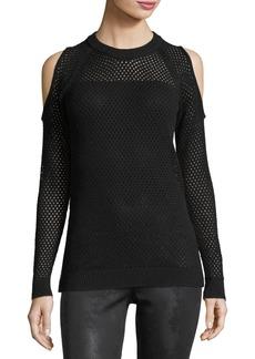 BCBG Mesh-Knit Cold-Shoulder Sweater