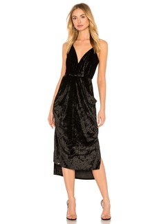 BCBG Midi Faux Wrap Dress In Black