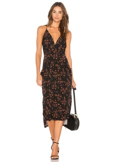 Midi Faux Wrap Dress In Black Multi