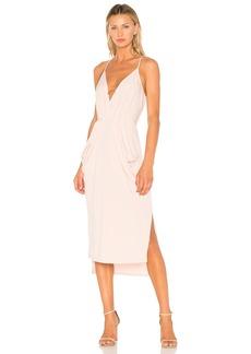 Midi Faux Wrap Dress In Rose Smoke