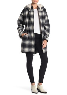 BCBG Missy Faux Shearling Hood Plaid Jacket