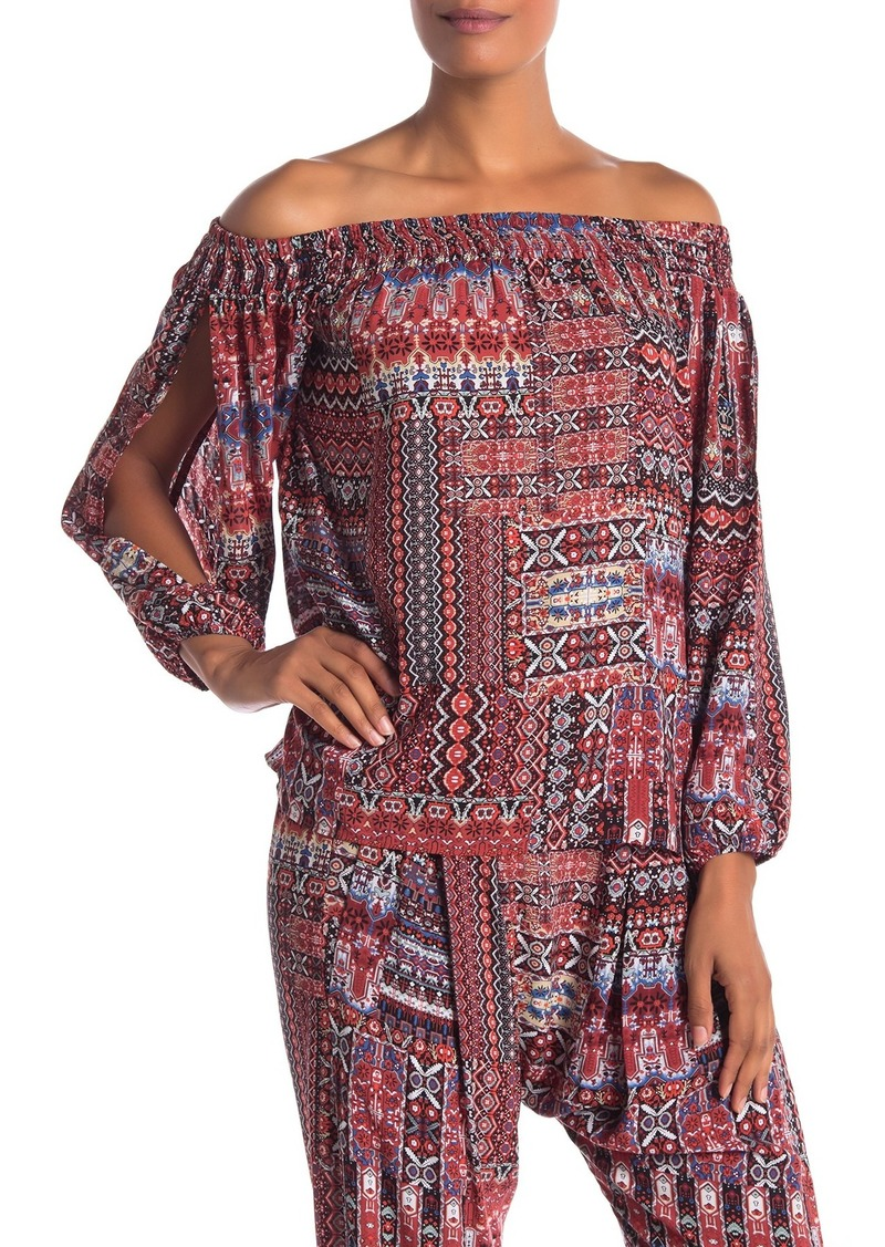 BCBG Off-the-Shoulder Smocked Top