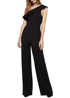 BCBG One-Shoulder Ruffle Jumpsuit