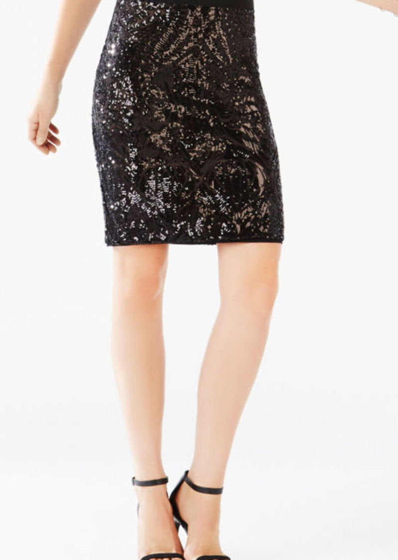BCBG Paxton Tapestry Sequined Power Skirt