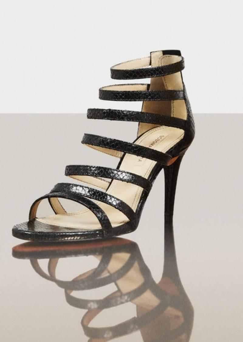 BCBG Polina High-Heel Python Print Strappy Sandal