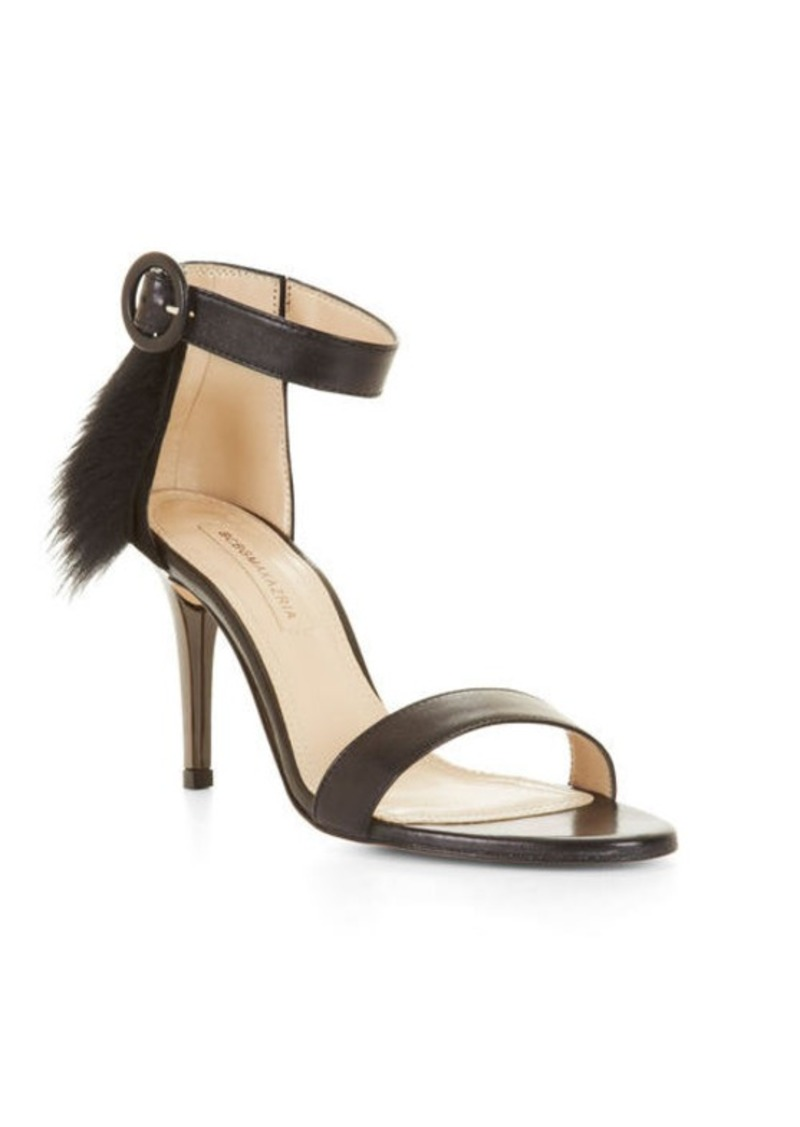 BCBG Poppy High-Heel Fur Trim Sandal