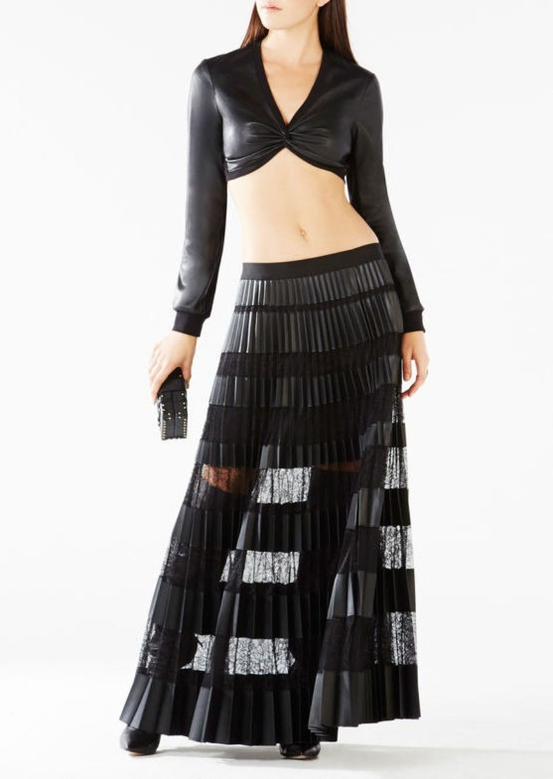 BCBG Raelee Twist Faux-Leather Crop Top