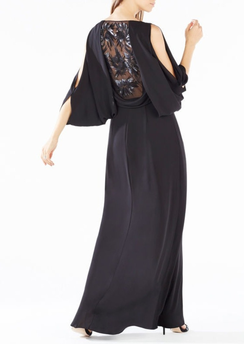 BCBG Rayah Sequin-Embroidered Draped-Back Gown