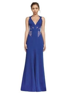 BCBG Reese Lace-Insert Satin Gown