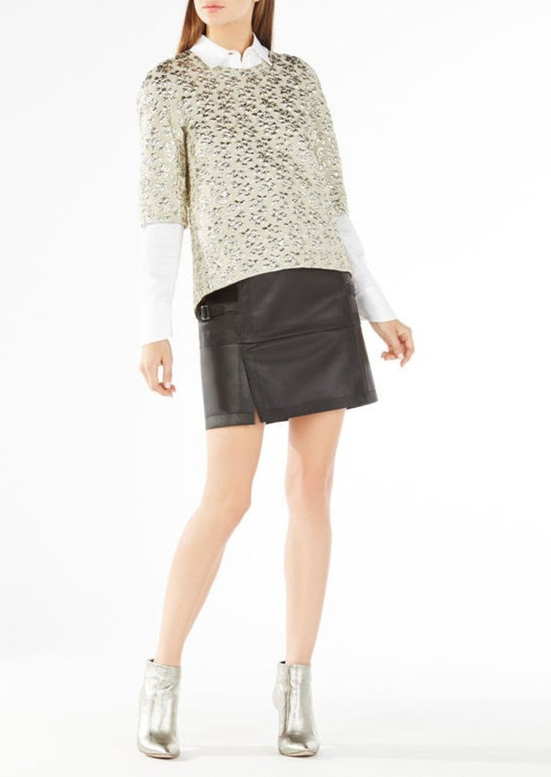 BCBG Rowen Cloque Metallic Jacquard Top