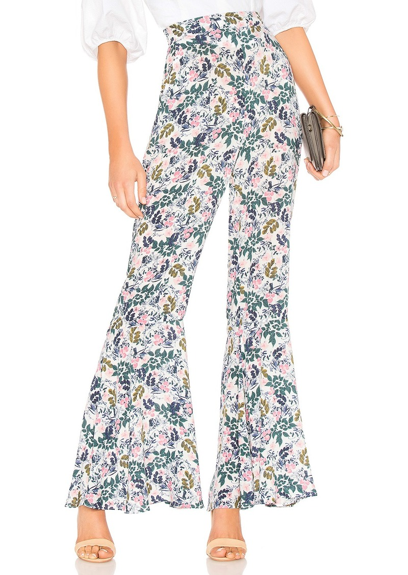 Ruffle Hem Cropped Palazzo Pant In Whisper White Multi in White. - size M (also in L,S,XS) BCBGeneration