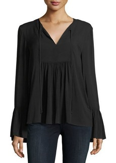 BCBG Ruffle-Sleeve Peasant Top