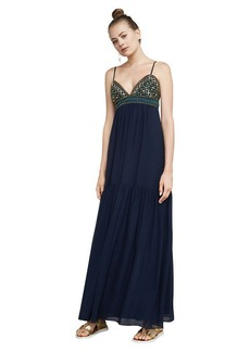 BCBG Sabrina Embroidered Chiffon Gown