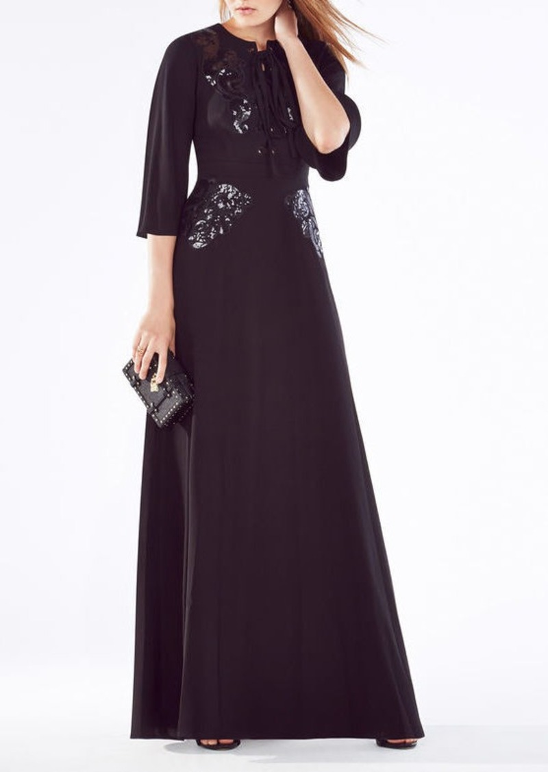 BCBG Sharlene Sequined Lace-Up Gown