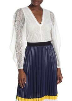 BCBG Sheer Sleeve Lace Top