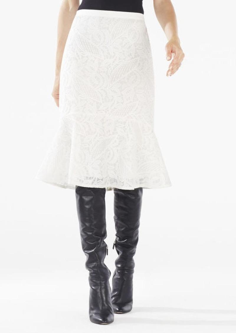BCBG Siman Lace Flounce Hem Skirt