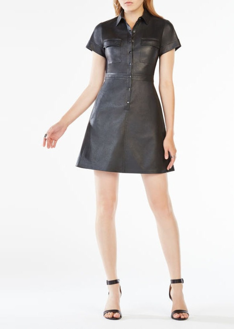 BCBG Stephana Faux-Leather Shirt Dress