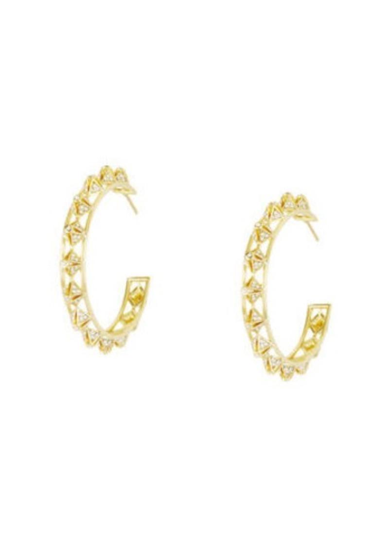 BCBG Stone Embellished Pyramid Hoop Earrings