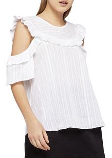 Striped Cold Shoulder Cotton Top