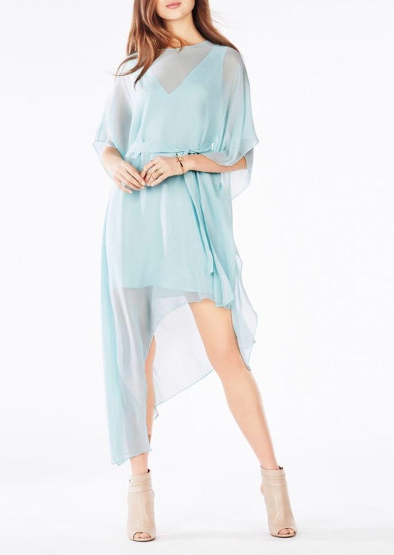 BCBG Suzy Draped Asymmetrical Silk Dress