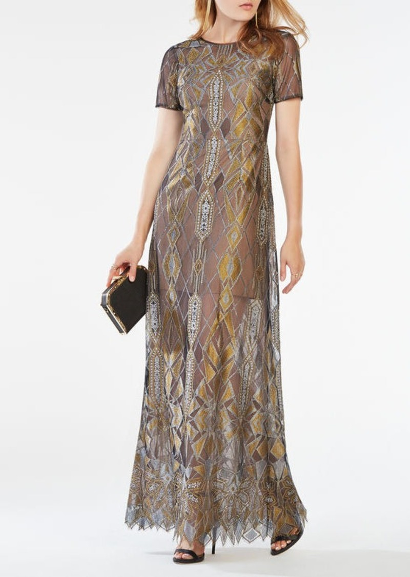 BCBG Taliah Metallic Geometric Lace Gown