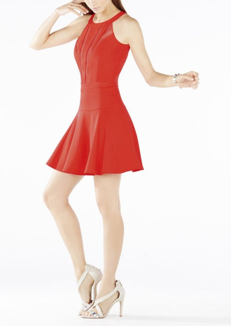 BCBG Tatyanna Mesh-Blocked Halter Dress